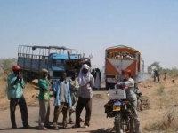 Trucks stuck on the road to Diffa, Niger