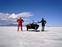 Bonneville Salt Flats. No land speed record for us.